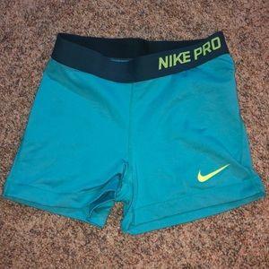teal nike pro shorts